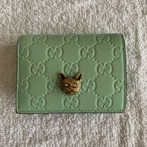 Gucci Guccissima Crystal Cat Card Case Wallet